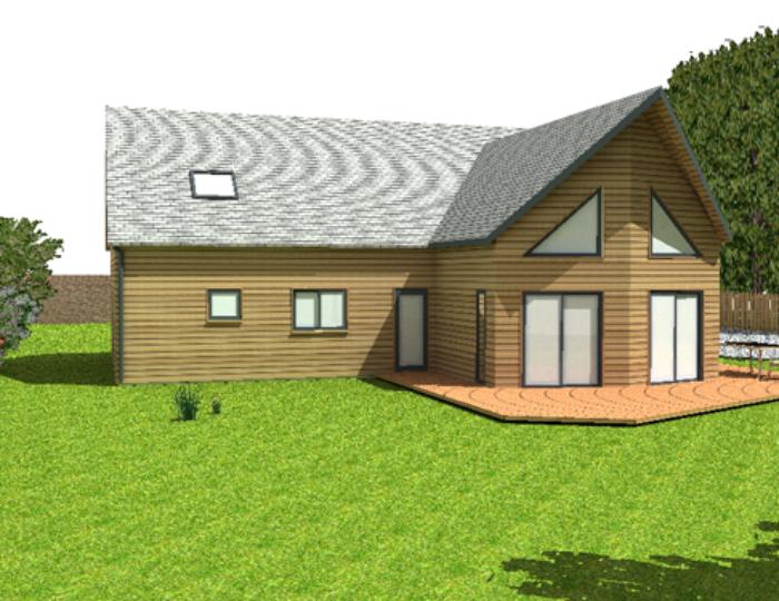 Projection 3 D d'une maison ossature Bois